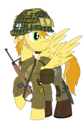 Size: 1625x2430 | Tagged: safe, artist:xphil1998, oc, oc only, pegasus, pony, 101st airborne, gun, helmet, knife, m1a1 carbine, male, paratrooper, simple background, solo, stallion, transparent background, us army, weapon, world war ii