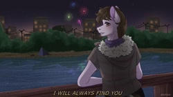 Size: 1080x608 | Tagged: safe, artist:loni_ee_, oc, oc only, anthro, earth pony, building, clothes, earth pony oc, fireworks, frown, lake, night, outdoors, redraw, signature, solo, stars, talking, tree