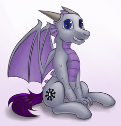 Size: 1821x1893 | Tagged: safe, artist:marsminer, color edit, edit, oc, oc only, oc:quirky view, dragon, hybrid, pegasus, pony, claws, colored, cutie mark, horns, male, scales, simple background, solo, stallion, white background, wings