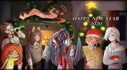 Size: 1080x600 | Tagged: safe, artist:loni_ee_, oc, oc only, anthro, cat, human, pegasus, unguligrade anthro, alcohol, beer bottle, candy, candy cane, christmas, christmas lights, christmas tree, clothes, drinking, eyes closed, fireplace, food, furry, furry oc, halo, happy new year 2020, hat, holiday, indoors, pegasus oc, present, santa hat, scarf, smiling, tree, unshorn fetlocks, wings