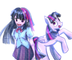 Size: 1800x1500 | Tagged: safe, artist:sky_puyo, twilight sparkle, alicorn, pony, equestria girls, human ponidox, self ponidox, twilight sparkle (alicorn)