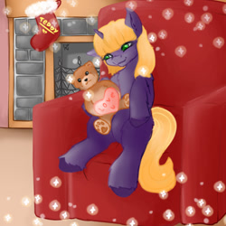 Size: 1024x1024   Tagged: safe, artist:dark_nidus, teddy, pony, armchair, chair, christmas, clothes, commission, fireplace, holiday, socks, teddy bear, toy, ych result