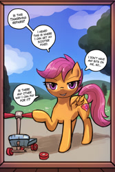 Size: 750x1125 | Tagged: safe, artist:lumineko, scootaloo, pegasus, bedroom eyes, broken, door frame, female, filly, looking at you, open mouth, scooter, smiling, talking to viewer