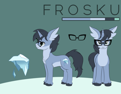 Size: 1050x820 | Tagged: safe, artist:sierania, oc, oc:frosku, unicorn, glasses, ice, icicle, male, reference sheet, stallion