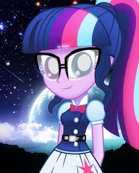 Size: 2000x2500 | Tagged: safe, artist:aryatheeditor, sci-twi, twilight sparkle, human, equestria girls, beautiful, belt, bowtie, cutie mark, digital art, geode of telekinesis, glasses, happy, heterochromia, jewelry, looking at you, magical geodes, night, outfit, pendant, powerful sparkle, sky, smiley face, smiling, smiling at you, solo