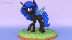 Size: 1600x900 | Tagged: safe, artist:regendary, oc, oc only, oc:blue visions, changeling, 3d, solo