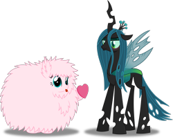 Size: 7089x5707 | Tagged: safe, artist:anime-equestria, queen chrysalis, oc, oc:fluffle puff, changeling, changeling queen, :p, blushing, cute, eyeshadow, female, flufflebetes, fluffy, heart, horn, love, makeup, simple background, smiling, tongue out, transparent background, vector, wings
