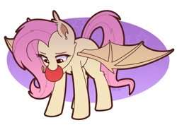 Size: 1843x1308 | Tagged: safe, artist:puetsua, fluttershy, bat pony, pony, abstract background, apple, bat wings, cute, ear fluff, ear tufts, female, flutterbat, food, leg fluff, mane, mare, mouth hold, race swap, shyabates, shyabetes, solo, tail, wings