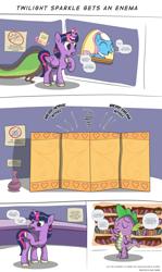 Size: 3000x5020 | Tagged: safe, artist:perfectblue97, aloe, twilight sparkle, alicorn, dragon, earth pony, anal insertion, comic, commission, dusk shine, enema, rule 63