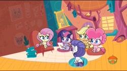 Size: 1280x720 | Tagged: safe, screencap, applejack, fluttershy, pinkie pie, rarity, twilight sparkle, alicorn, my little pony: pony life, spoiler:pony life s01e08, the scream, twilight sparkle (alicorn)
