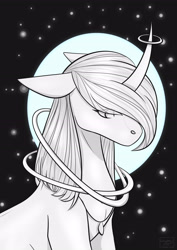 Size: 3307x4677 | Tagged: safe, artist:chrystal_company, oc, oc:nightmare chrystal, pony, unicorn, bust, horn, horn ring, inktober, inktober 2019, jewelry, necklace, night, ring, solo, stars, unicorn oc