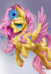 Size: 838x1222 | Tagged: safe, artist:maggephah, fluttershy, butterfly, pegasus, pony, chest fluff, cute, ear fluff, female, flower, flower in hair, gradient background, looking at you, mare, shoulder feathers, shyabetes, smiling, solo, spread wings, three quarter view, two toned wings, unshorn fetlocks, wings