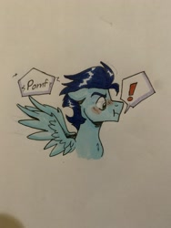 Size: 4032x3024 | Tagged: safe, artist:dufflebags, soarin', :i, bust, embarrassed, spread wings, traditional art, wingboner, wings