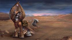 Size: 1320x743 | Tagged: safe, artist:limreiart, oc, oc only, zebra, fallout equestria, bag, clothes, desert, goggles, saddle bag, solo, wasteland, zebra oc
