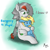 Size: 2500x2500   Tagged: safe, artist:move, oc, oc only, oc:move, oc:skydreams, pegasus, unicorn, blue eyes, blushing, comforting, cutie mark, duo, female, fluffy, green eyes, hug, male, pouting, sitting on lap, size difference, smiling, text, wings