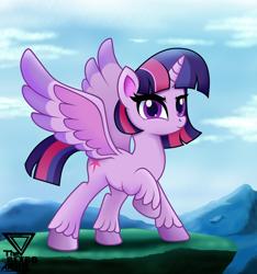 Size: 2300x2460 | Tagged: safe, artist:theretroart88, twilight sparkle, alicorn, pony, female, hoof fluff, mare, raised hoof, solo, spread wings, twilight sparkle (alicorn), unshorn fetlocks, wings