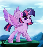 Size: 2300x2460 | Tagged: safe, artist:theretroart88, twilight sparkle, alicorn, pony, my little pony: pony life, female, hoof fluff, mare, raised hoof, solo, spread wings, twilight sparkle (alicorn), unshorn fetlocks, wings