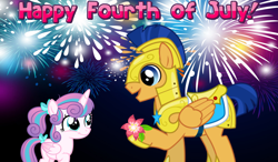 Size: 2064x1204 | Tagged: safe, artist:not-yet-a-brony, edit, flash sentry, princess flurry heart, alicorn, pegasus, pony, 4th of july, armor, bow, dawwww, female, filly, fireworks, flower, friendship, gift art, heartwarming, holiday, knight, looking at each other, male, night, older, older flurry heart, ponytail, present, princess, royal guard, royal guard armor, smiling, stallion, uncle flash