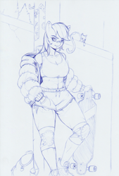Size: 1179x1741 | Tagged: safe, artist:longinius, rainbow dash, anthro, cat, plantigrade anthro, abs, backpack, bandaid, breasts, busty rainbow dash, clothes, cutie mark, female, jacket, knee pads, monochrome, shorts, simple background, skateboard, solo, sports bra, sports shorts, standing, toned, toned female