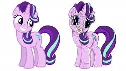 Size: 2244x1262   Tagged: safe, artist:applebeans, starlight glimmer, unicorn, comparison, female, redraw