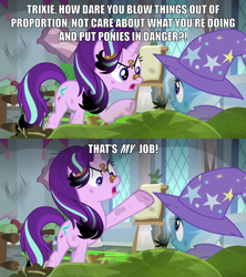 Size: 2000x2251 | Tagged: safe, edit, edited screencap, screencap, starlight glimmer, trixie, pony, unicorn, a horse shoe-in, angry, burnt mane, cape, caption, clothes, dirty, duo, female, hat, hypocrite, image macro, impact font, mare, meme, messy mane, open mouth, raised hoof, school, scorched, text, trixie's cape, trixie's hat