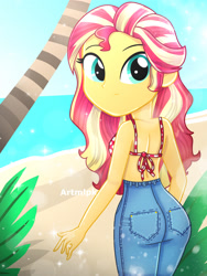 Size: 1800x2400 | Tagged: safe, artist:artmlpk, sunset shimmer, equestria girls, adorable face, adorasexy, adorkable, alternate hairstyle, ass, bare shoulders, beach, beautiful, bikini, bikini top, bunset shimmer, butt, clothes, confused, cute, denim, digital art, dork, female, hair, jeans, looking at you, ocean, palm tree, pants, plant, sand, sexy, shimmerbetes, smiling at you, solo, swimsuit, tree, water, watermark