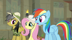 Size: 1920x1080 | Tagged: safe, daring do, fluttershy, rainbow dash, daring doubt, cute, shyabetes