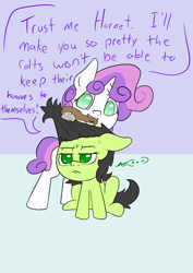 Size: 1000x1414 | Tagged: safe, artist:happy harvey, sweetie belle, oc, oc:filly anon, earth pony, ..., annoyed, blank flank, brushing, brushing mane, colored pupils, drawn on phone, female, females only, filly, implied shipping, makeover