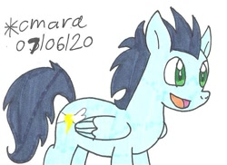 Size: 794x579 | Tagged: safe, artist:cmara, soarin', pegasus, pony, happy, male, open mouth, simple background, solo, stallion, traditional art, white background