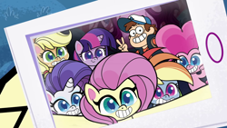 Size: 1280x720 | Tagged: safe, edit, edited screencap, screencap, applejack, fluttershy, pinkie pie, rainbow dash, rarity, twilight sparkle, pony, bighoof walking, my little pony: pony life, spoiler:pony life s01e09, bean mouth, crossover, dipper pines, gravity falls, mane six, selfie