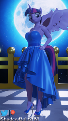 Size: 2160x3840 | Tagged: safe, artist:shadowboltsfm, twilight sparkle, alicorn, anthro, plantigrade anthro, 3d, 4k, beautiful, blender, clothes, dress, eyelashes, hand on hip, high heels, looking at you, moon, nail polish, shoes, smiling, standing, toenail polish, twilight sparkle (alicorn), wings
