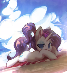 Size: 2001x2170 | Tagged: safe, alternate version, artist:mirroredsea, rarity, pony, unicorn, alternate hairstyle, beach, beach towel, cloud, cute, eyeshadow, female, high res, lidded eyes, looking at you, makeup, mare, no pupils, ponytail, prone, raribetes, solo