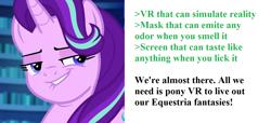 Size: 1346x614   Tagged: safe, edit, edited screencap, screencap, starlight glimmer, unicorn, equestria girls, mirror magic, spoiler:eqg specials, bust, cropped, glimmer, greentext, lip bite, portrait, solo, text, virtual reality