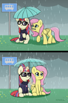 Size: 2000x3000 | Tagged: safe, artist:kumakum, fluttershy, moondancer, pegasus, pony, unicorn, 2 panel comic, bus stop, chest fluff, clothes, comic, cute, duo, ear fluff, female, folded wings, friendshipping, glowing horn, horn, magic, mare, mouth hold, outdoors, rain, raised hoof, shyabetes, sitting, smiling, sweater, telekinesis, umbrella, wings
