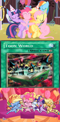Size: 1277x2600 | Tagged: safe, edit, edited screencap, editor:tcgamebot, screencap, applejack, fluttershy, pinkie pie, rainbow dash, rarity, twilight sparkle, alicorn, earth pony, pegasus, unicorn, my little pony: pony life, party of one, card, hug, mane six, maximillion pegasus, toon world, yu-gi-oh!