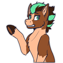 Size: 512x512 | Tagged: safe, artist:sursiq, oc, oc:sagebrush, earth pony, pony, gritted teeth, raised hoof, solo, sticker, telegram sticker