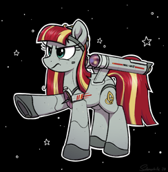 Size: 2691x2757 | Tagged: safe, artist:selenophile, oc, oc only, oc:constellation, oc:starship constellation, object pony, pony, spaceship ponies, constellation, doomsday weapon, female, frown, frowny, ncc-1017, planet killer, ponified, shipmare, solo, spaceship, star trek, star trek (tos), stars, stars background, starship, starshipmare, the doomsday machine, uss constellation, warp nacelles
