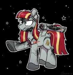 Size: 2691x2757 | Tagged: safe, artist:selenophile, oc, oc only, oc:constellation, oc:starship constellation, object pony, pony, spaceship ponies, angry, battle damage, btfo, crazy face, damaged, doomsday weapon, faic, frown, frowny, hurting, hurts like a bitch, insanity, last stand, obsession, ponified, shipmare, solo, spaceship, star trek, star trek (tos), stars, stars background, starship, starshipmare, the doomsday machine, uss constellation, warp nacelles