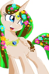 Size: 380x569 | Tagged: safe, artist:kiwwsplash, oc, oc only, alicorn, pony, alicorn oc, eyelashes, flower, flower in hair, horn, jewelry, necklace, open mouth, simple background, smiling, solo, white background, wings