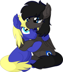 Size: 6707x7690 | Tagged: safe, artist:cyanlightning, oc, oc:boreal bloom, oc:spore, earth pony, pegasus, pony, cuddling, duo, hug, looking at each other, male, simple background, sitting, stallion, transparent background, vector