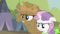 Size: 993x559 | Tagged: safe, screencap, rarity, sweetie belle, earth pony, pony, unicorn, season 2, sisterhooves social, applejack's hat, belle sisters, covered in mud, cowboy hat, disguise, female, hat, implied applejack, mud, muddy, rarity is not amused, siblings, sisters, standing next to each other, sweetie belle is not amused, unamused