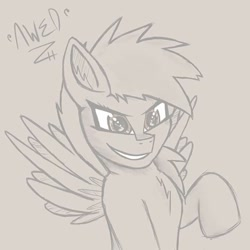 Size: 720x720   Tagged: safe, artist:awed, rainbow dash, pegasus, pony, bust, chest fluff, excited, female, mare, newbie artist training grounds, portrait, raised hoof, sketch, smiling, solo, wings, wip