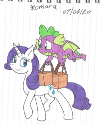 Size: 1058x1291 | Tagged: safe, artist:cmara, rarity, spike, dragon, pony, unicorn, bag, duo, female, looking at each other, male, mare, paper bag, traditional art, winged spike