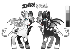 Size: 1000x725   Tagged: safe, artist:lastnight-light, oc, oc:inky page, bat pony, female, horns, mare, simple background, solo, transparent background