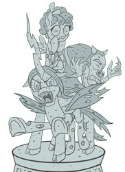 Size: 1500x2063   Tagged: safe, artist:starbat, cozy glow, lord tirek, queen chrysalis, changeling, pony, antagonist, legion of doom, petrification, simple background, transparent background