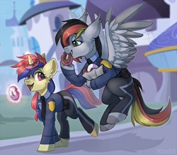 Size: 3192x2800   Tagged: safe, artist:trickate, oc, oc only, pegasus, pony, unicorn, canterlot, clothes, donut, duo, eating, flying, food, high res, open mouth, pants, police officer, uniform