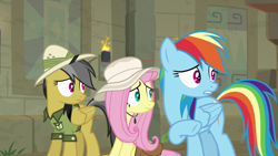 Size: 1920x1080 | Tagged: safe, screencap, daring do, fluttershy, rainbow dash, daring doubt
