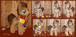 Size: 1024x498 | Tagged: safe, artist:calusariac, doctor whooves, time turner, custom, irl, photo, plushie, tom baker's scarf, toy