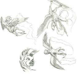 Size: 1200x1174 | Tagged: safe, artist:baron engel, oc, oc:sky brush, pegasus, pony, zebra, female, male, mare, monochrome, pencil drawing, stallion, story included, traditional art