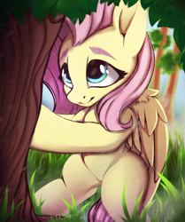 Size: 530x635 | Tagged: safe, artist:hitbass, fluttershy, pegasus, cute, female, fluttertree, grass, mare, shyabetes, touch, tree